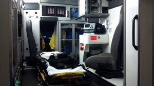 Inside view of an ambulance.